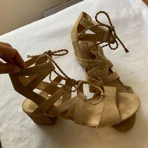 Suede Lace-up Tan Sandals